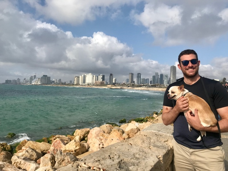 Sam and Gucci with the Tel Aviv skyline behind them