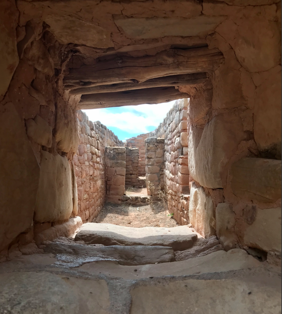View through the window of a building an one of many archeological sites at Mesa Verde